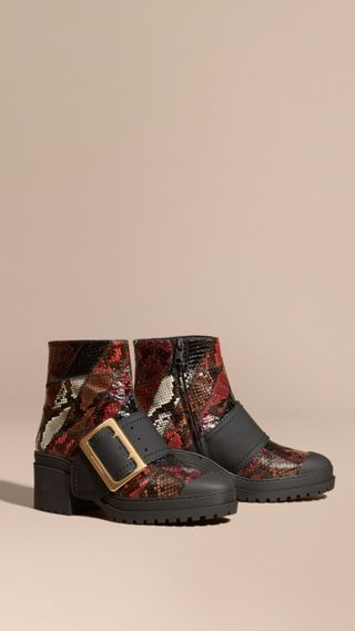 The Buckle Boot in Snakeskin and Rubberised Leather