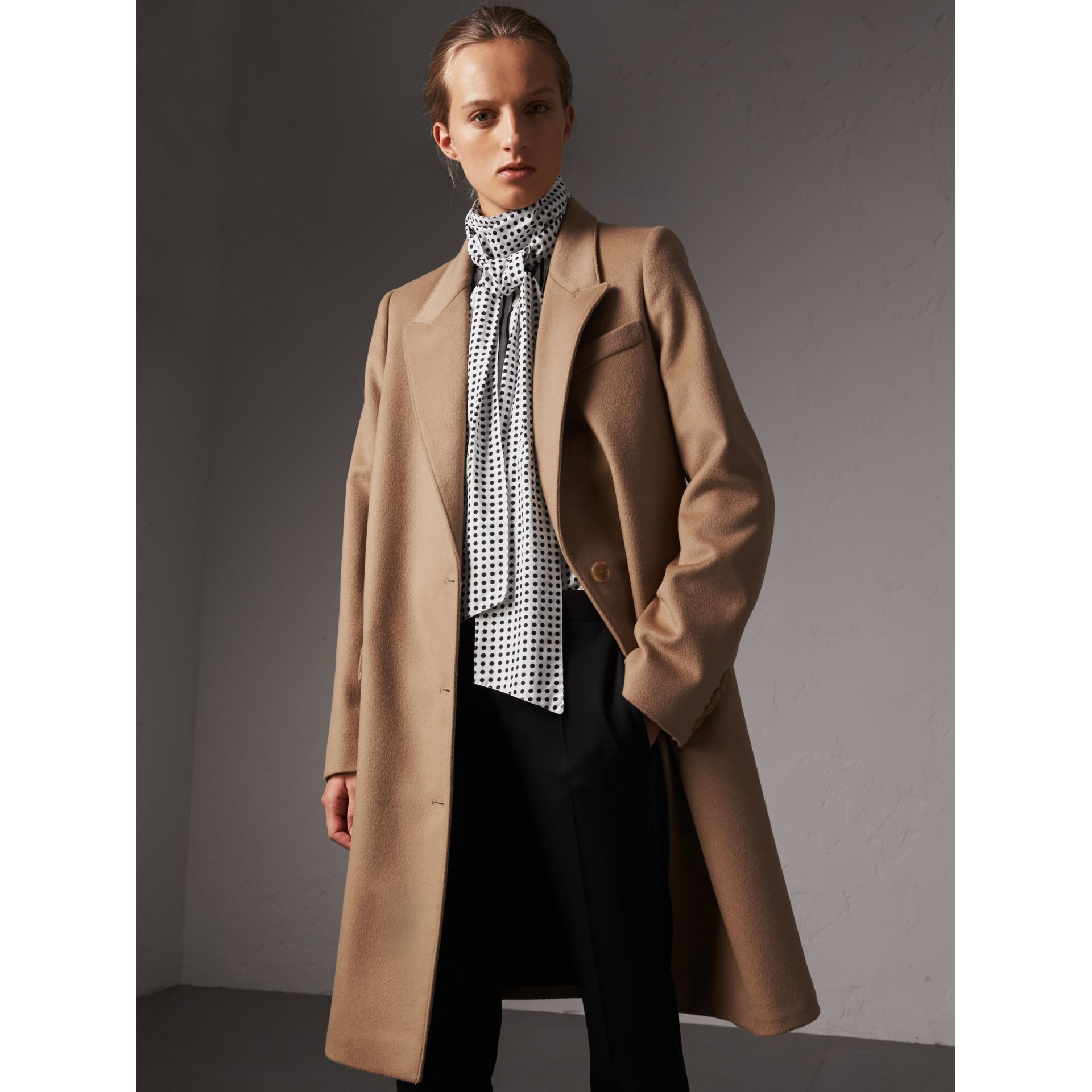 Wool Cashmere Tailored Coat in Camel - Women | Burberry - gallery image 0