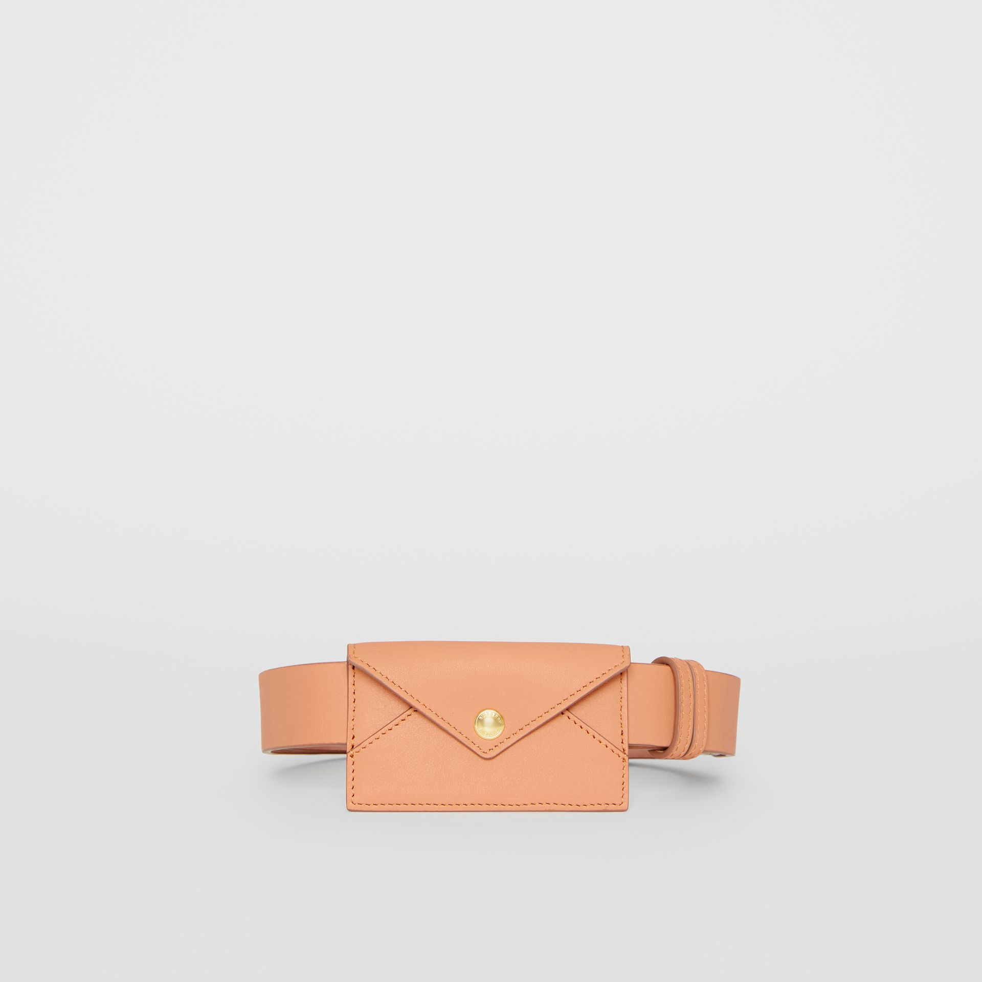 Envelope Detail Leather Belt in Pale Brick - Women | Burberry - gallery image 3