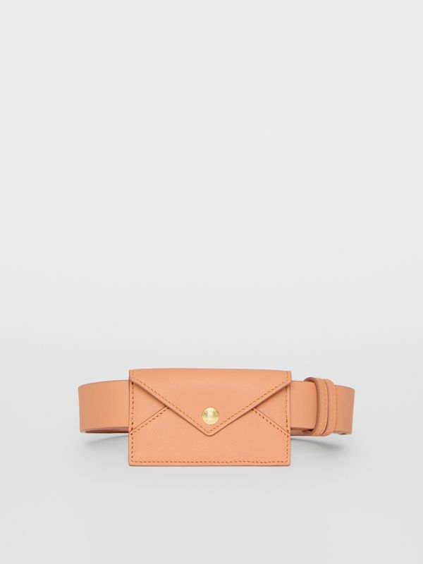Envelope Detail Leather Belt in Pale Brick - Women | Burberry - cell image 3