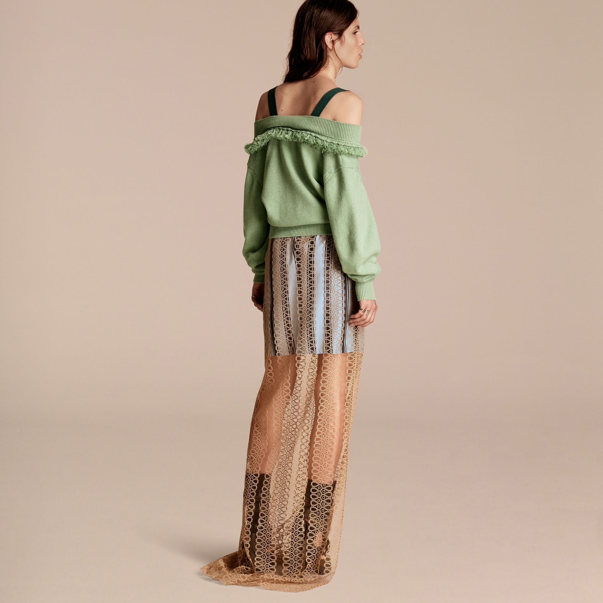 Fringed Off-the-shoulder Cashmere Sweater in Apple Green - gallery image 3