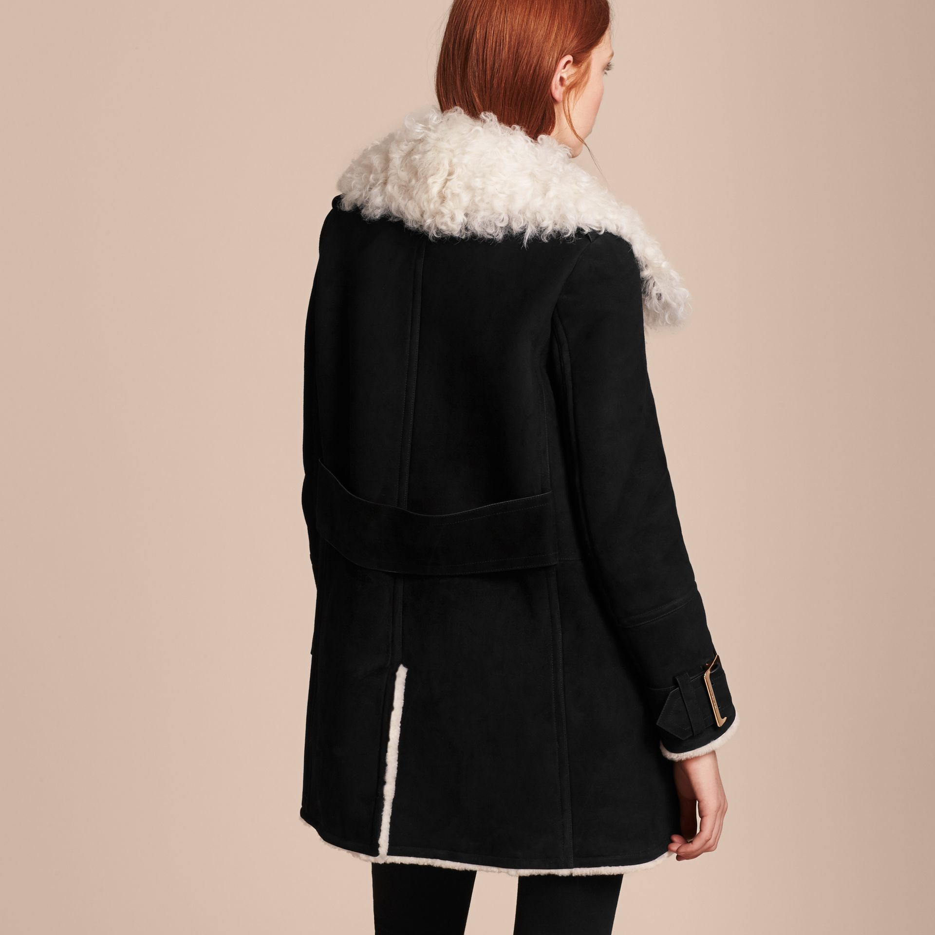 Black Double-breasted Suede and Shearling Coat - gallery image 3