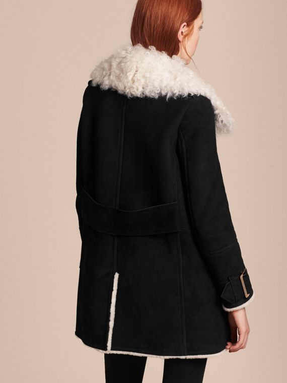 Black Double-breasted Suede and Shearling Coat - cell image 2