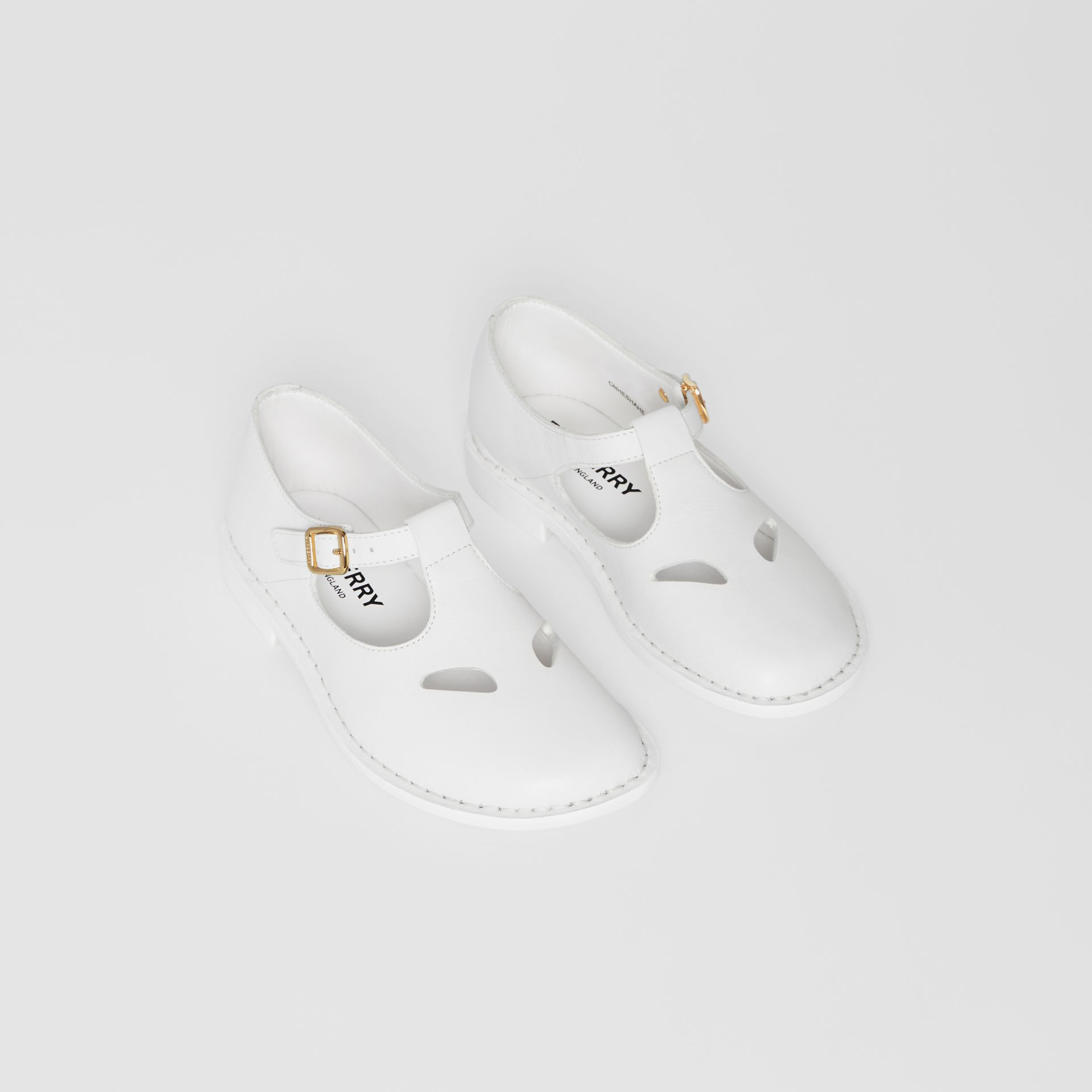 Leather T-bar Shoes in Optic White - Children | Burberry - gallery image 0