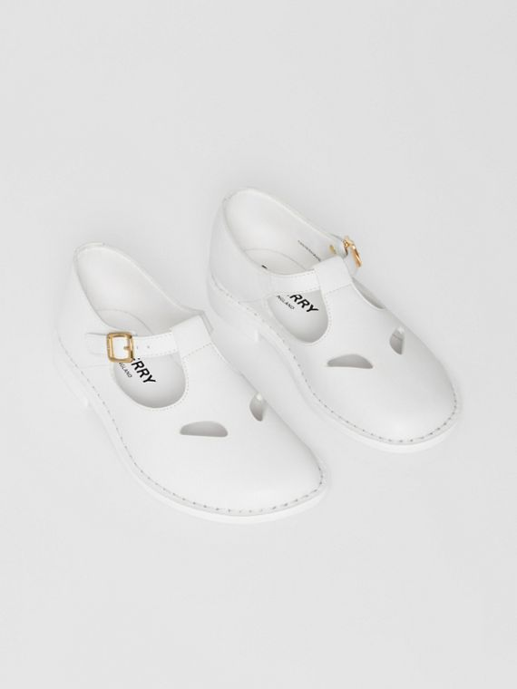 Leather T-bar Shoes in Optic White