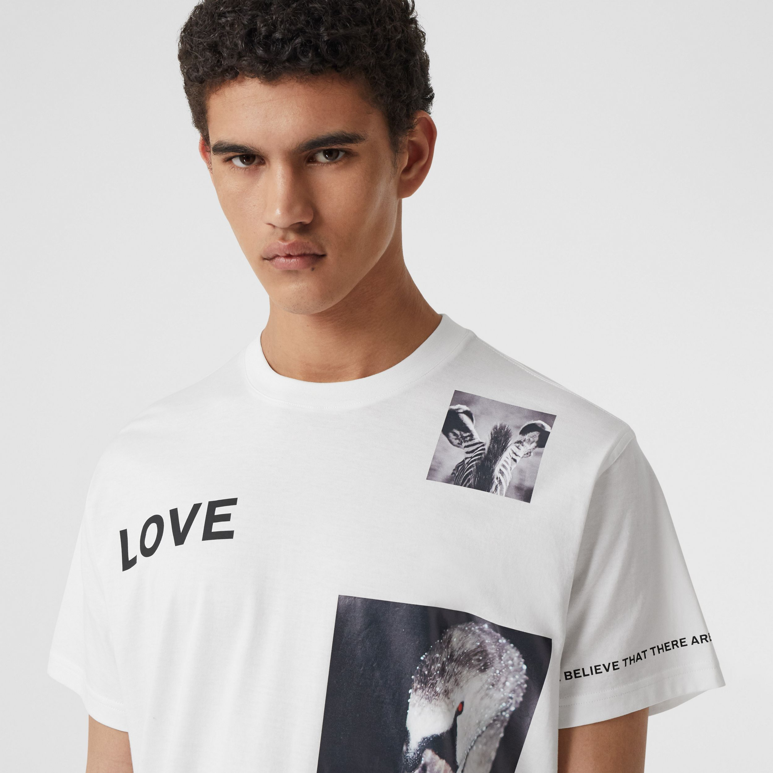Montage Print Cotton T-shirt in White - Men | Burberry - 2