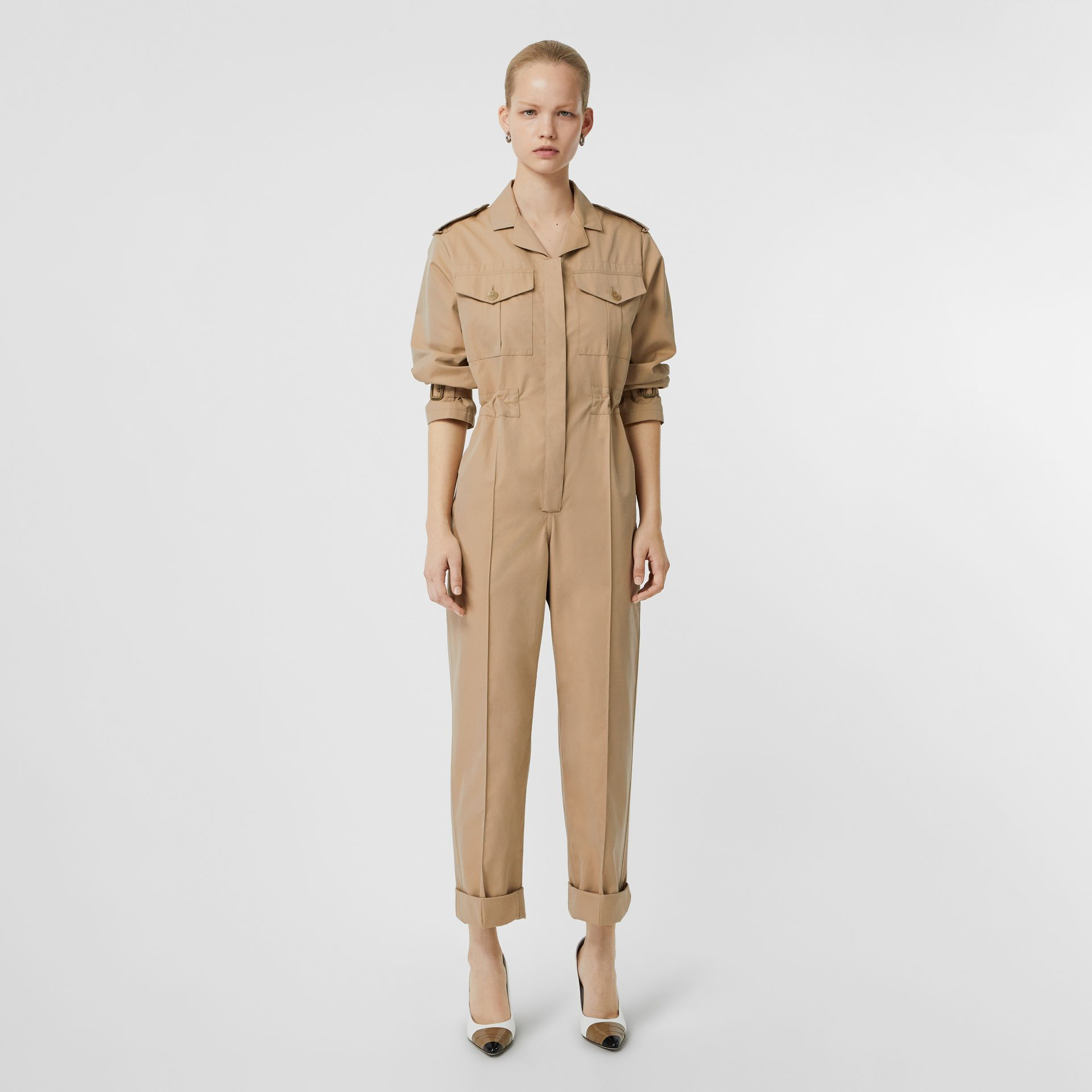 Cotton Gabardine Jumpsuit in Honey - Women | Burberry - gallery image 6