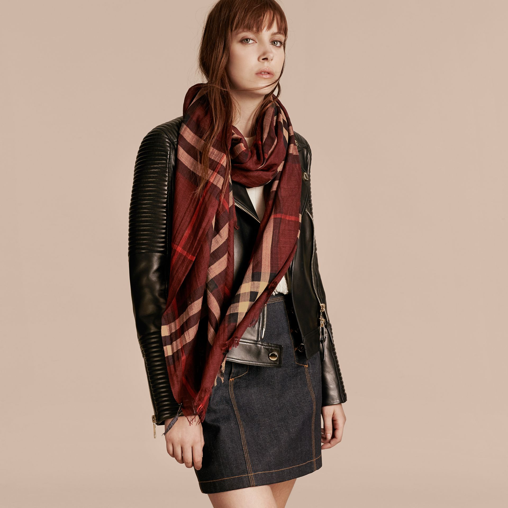 Claret Lightweight Check Wool and Silk Scarf Claret - gallery image 3