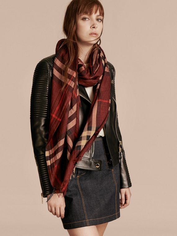 Claret Lightweight Check Wool and Silk Scarf Claret - cell image 2