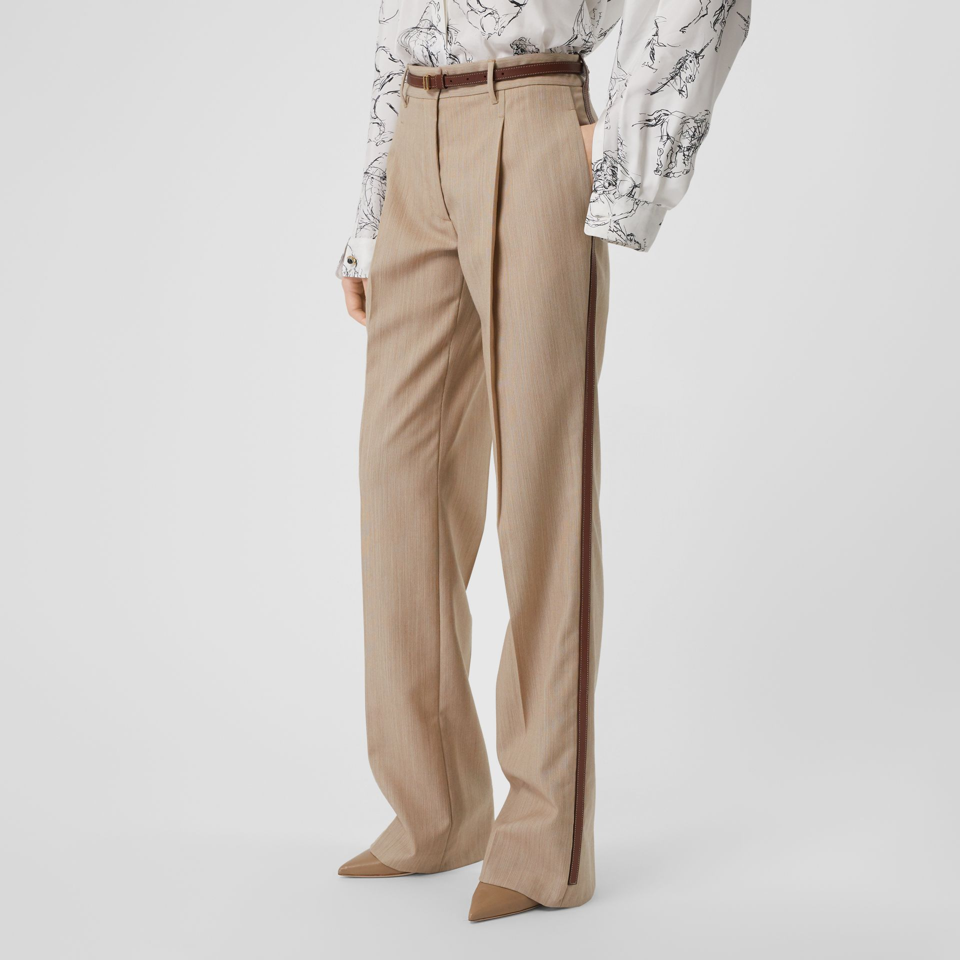 Leather Stripe Wool Tailored Trousers in Camel Melange - Women | Burberry - gallery image 4