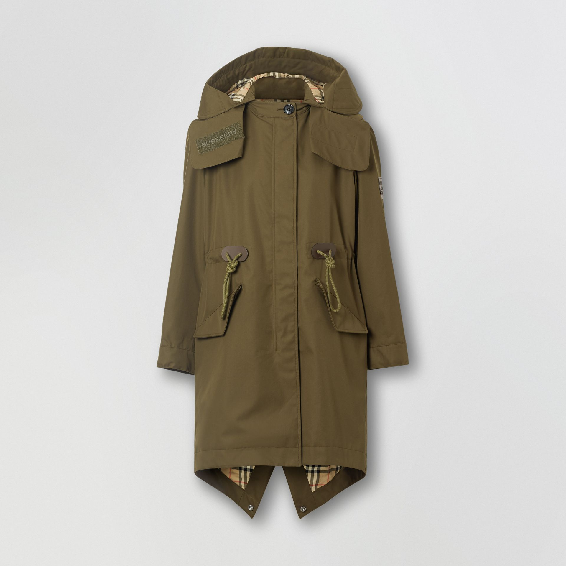 Detachable Hood Cotton Gabardine Parka in Dark Military Khaki - Women | Burberry - gallery image 3