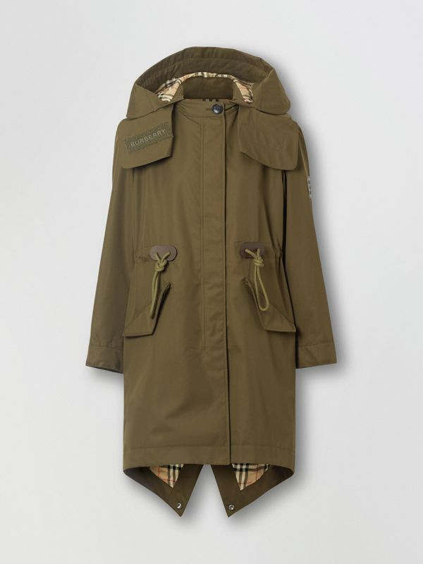 Detachable Hood Cotton Gabardine Parka in Dark Military Khaki - Women | Burberry - cell image 3
