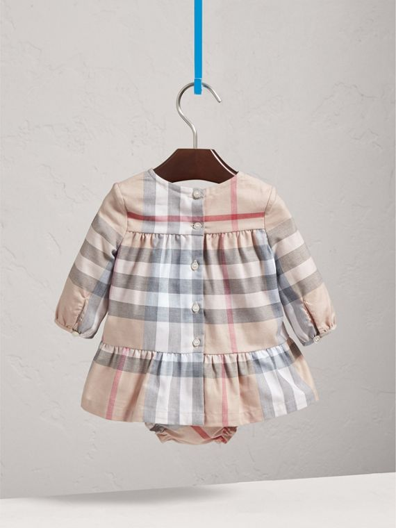 Check Cotton Tiered Dress with Bloomers in Pale Stone | Burberry United States - cell image 3