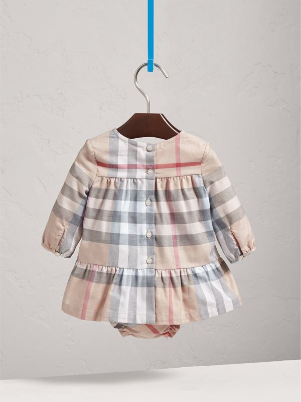 Check Cotton Tiered Dress with Bloomers in Pale Stone | Burberry - cell image 3
