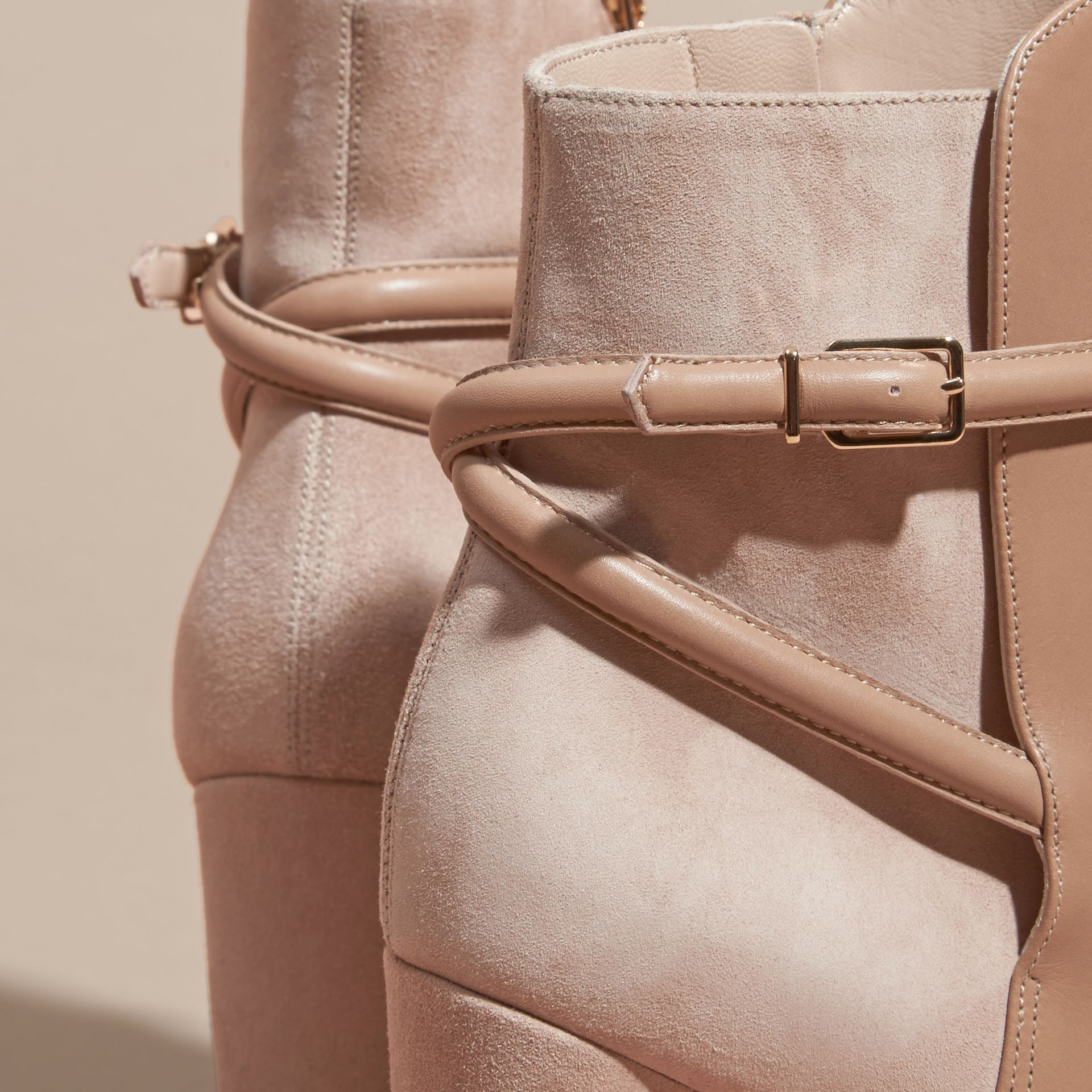 Light nude Strap Detail Leather and Suede Ankle Boots Light Nude - gallery image 2