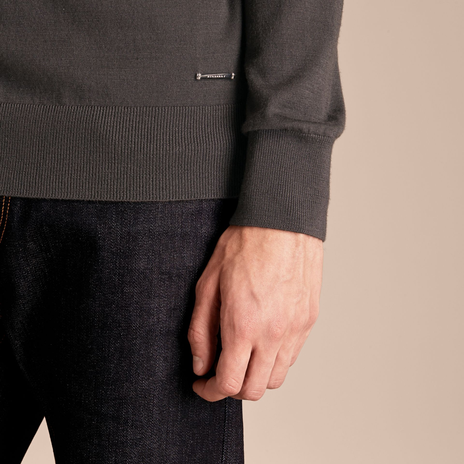 Zip-collar Cashmere Sweater in Mid Grey Melange - Men | Burberry - gallery image 5