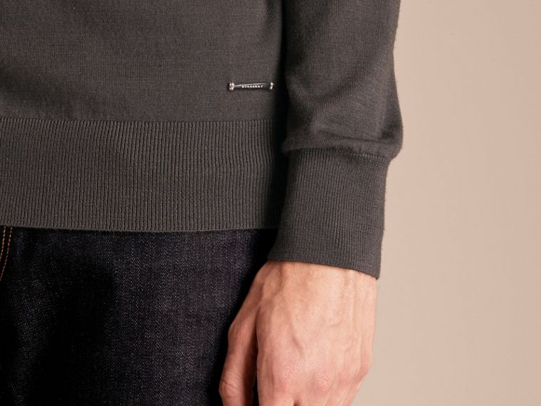 Zip-collar Cashmere Sweater in Mid Grey Melange - Men | Burberry - cell image 4