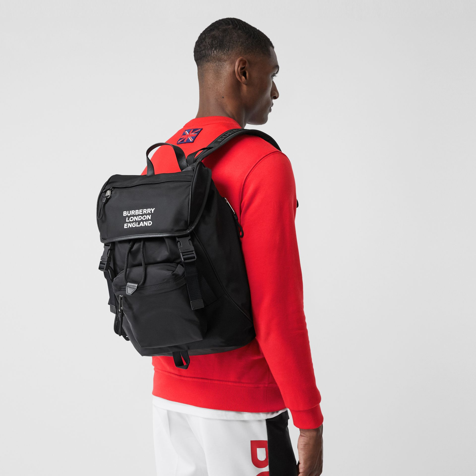 Logo Print ECONYL® Backpack in Black | Burberry Australia - gallery image 2