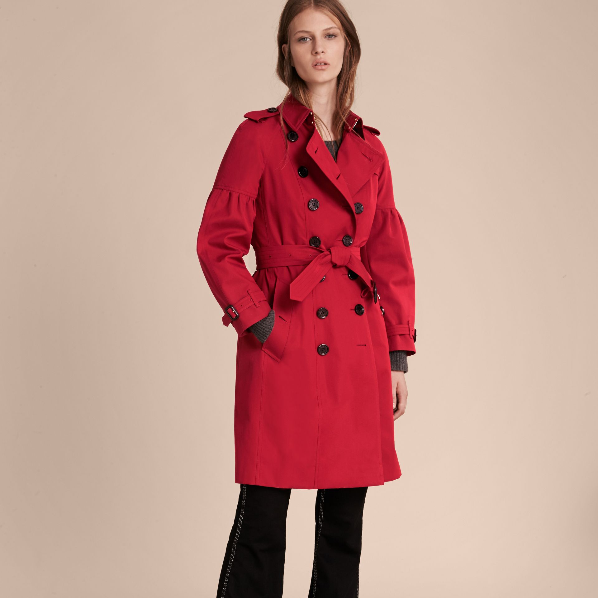 Parade red Cotton Gabardine Trench Coat with Puff Sleeves Parade Red - gallery image 7