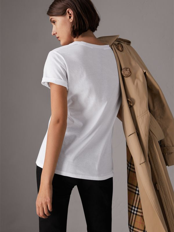 Doodle Print Cotton T-shirt in White - Women | Burberry - cell image 2