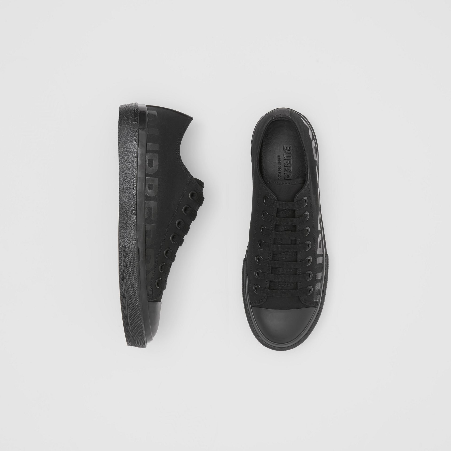 Logo Print Cotton Gabardine Sneakers in Black - Men | Burberry - gallery image 0
