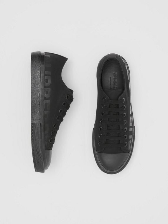 Logo Print Cotton Gabardine Sneakers in Black