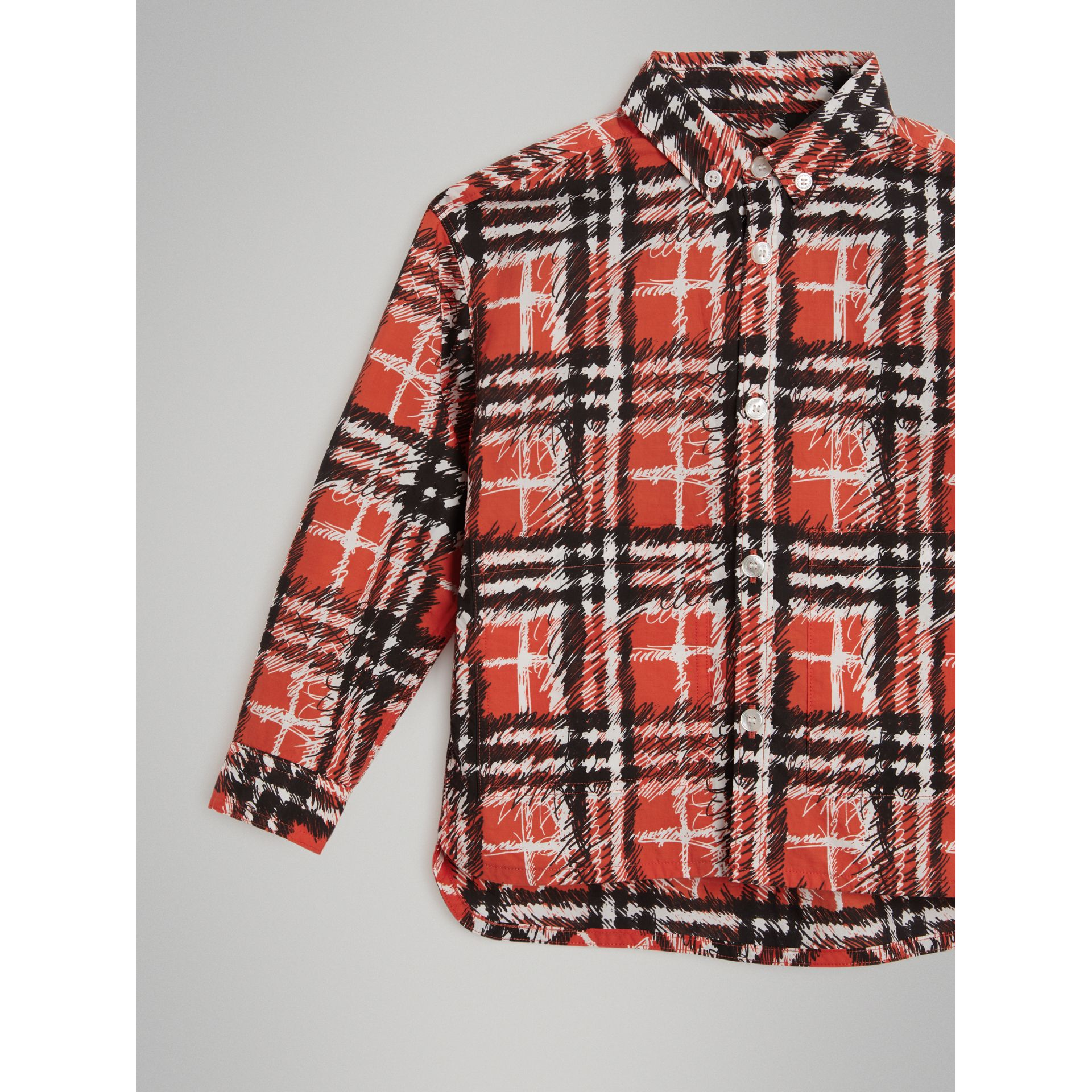 Scribble Check Button-down Collar Shirt in Bright Red | Burberry - gallery image 4