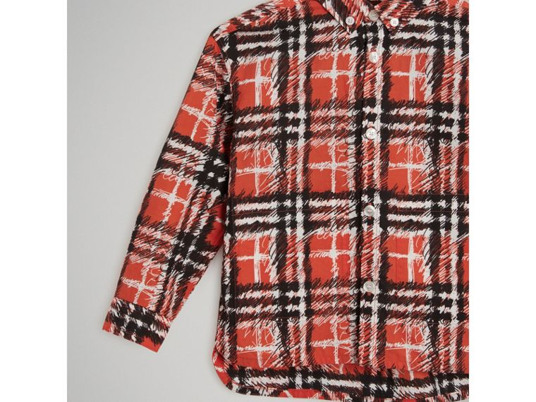 Scribble Check Button-down Collar Shirt in Bright Red - Boy | Burberry United Kingdom - cell image 4