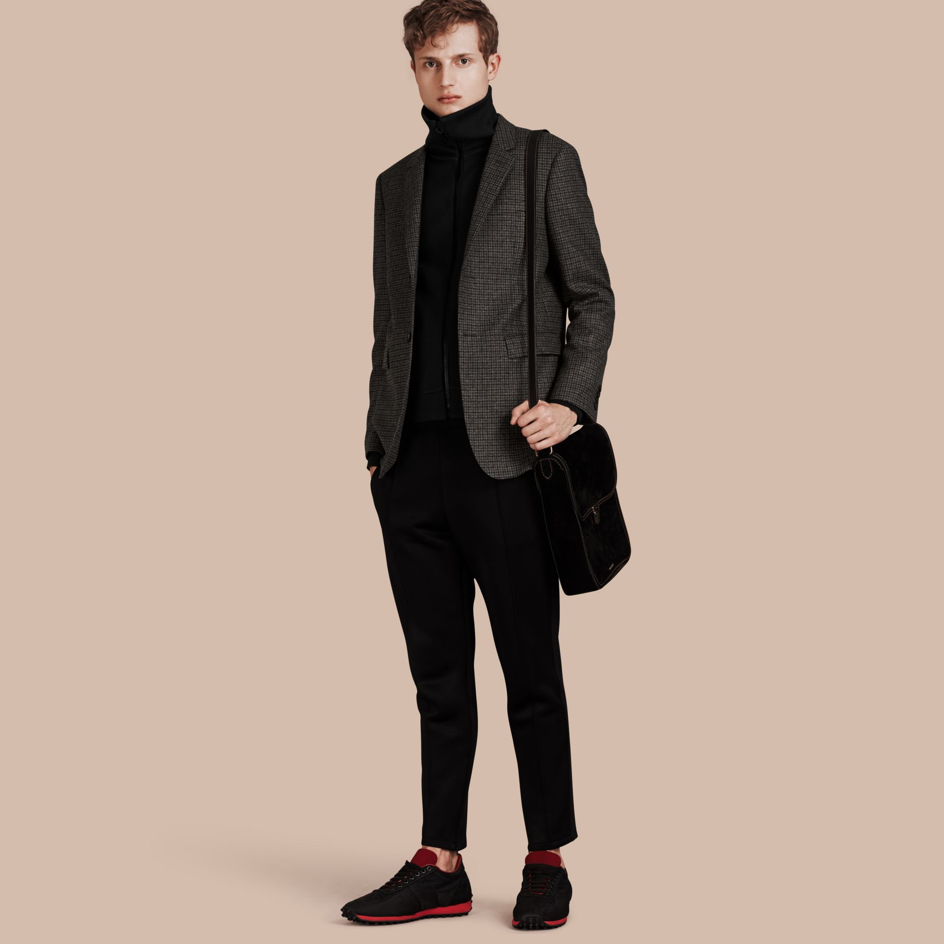 Charcoal/black Slim Fit Check Wool Tailored Jacket - gallery image 1