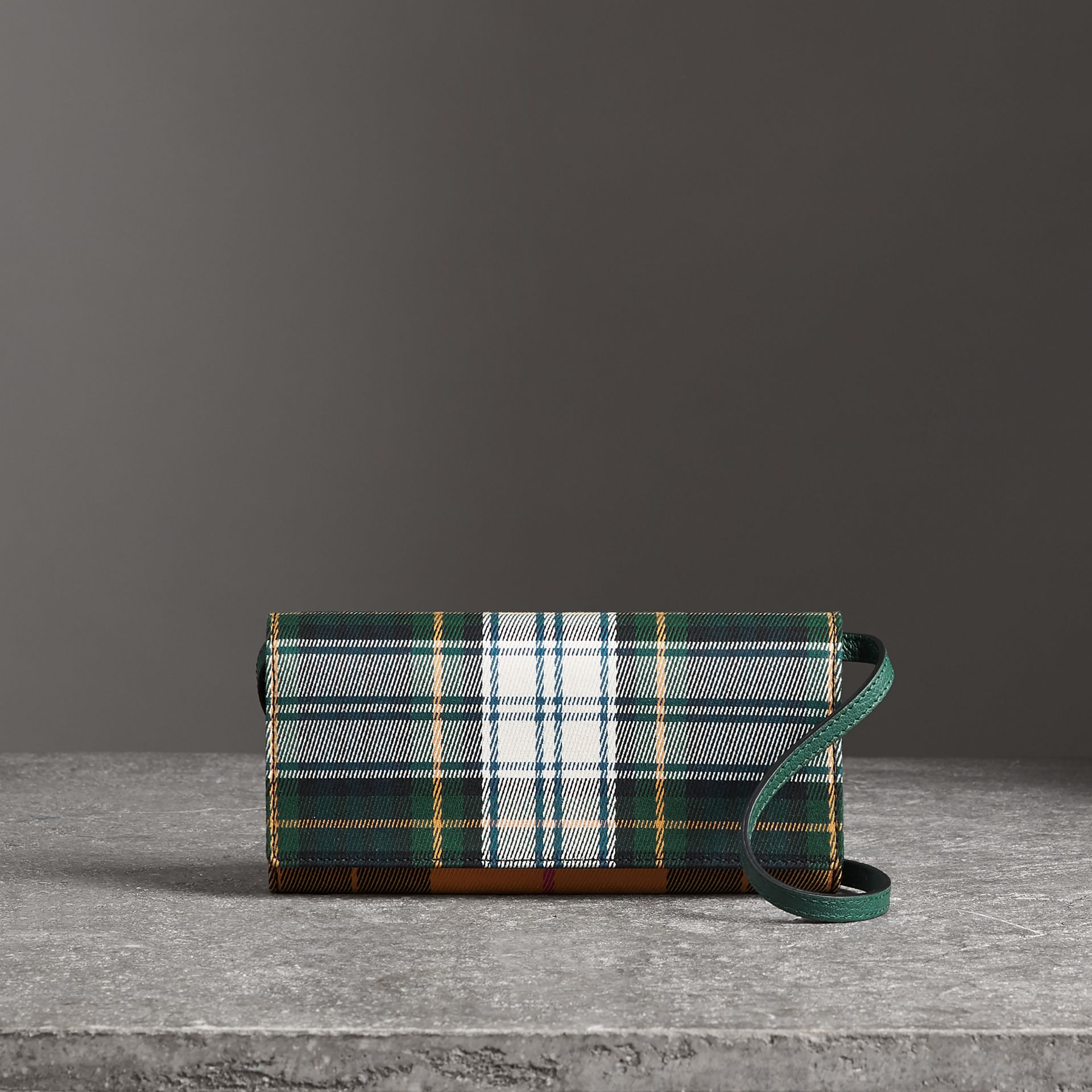 Tartan Cotton and Leather Wallet with Chain in Green/multicolour - Women | Burberry - gallery image 6