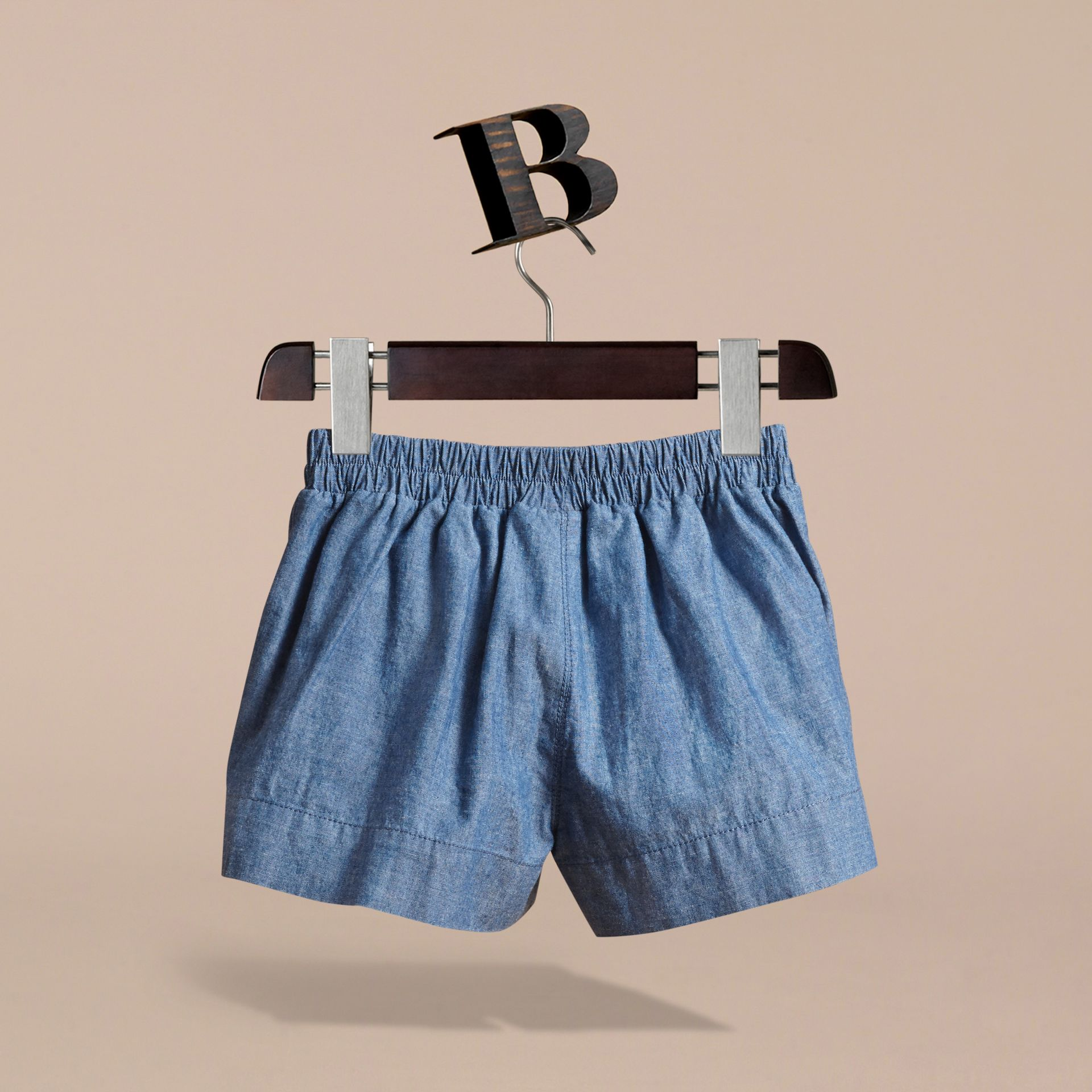 Button Detail Cotton Chambray Shorts - gallery image 4