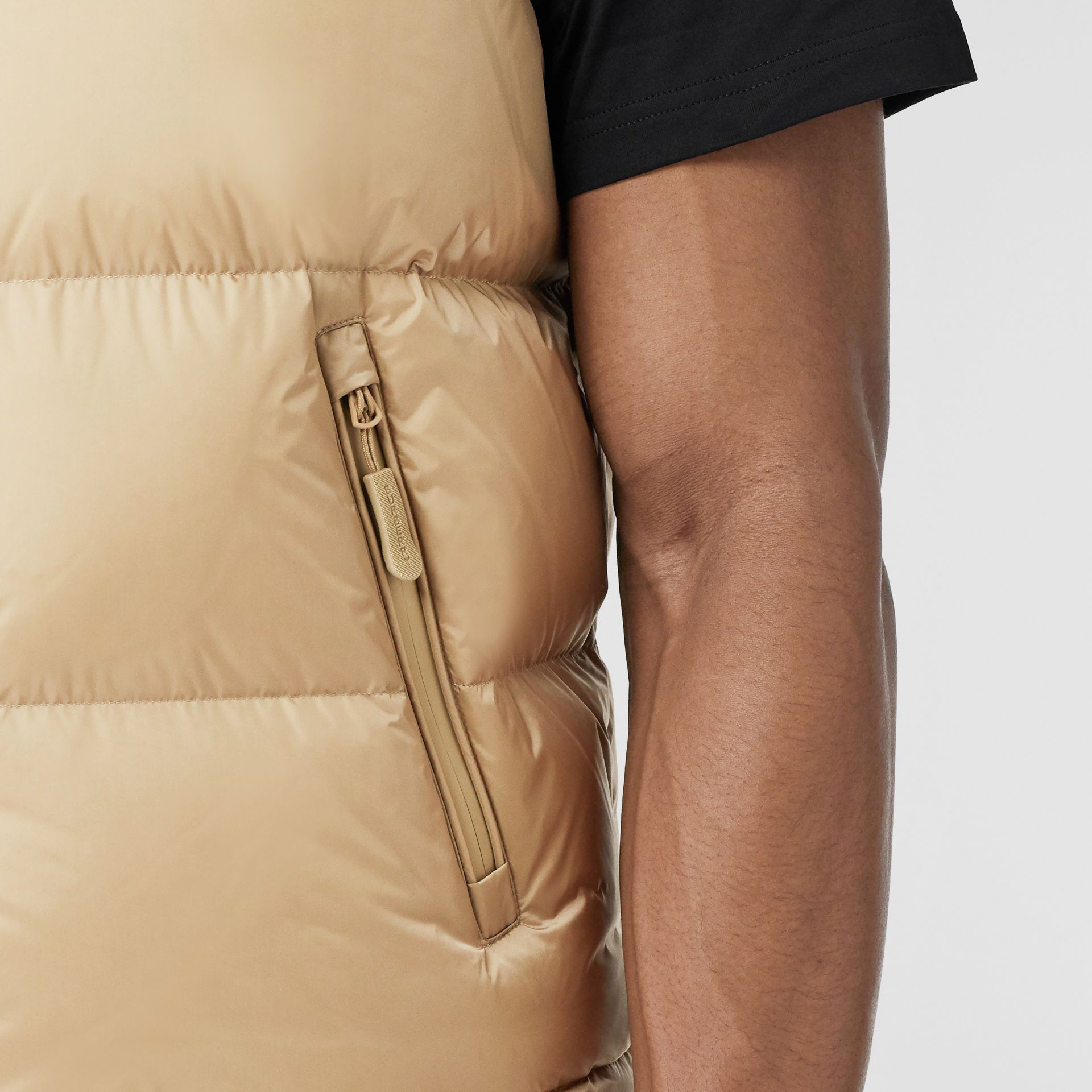 Detachable Sleeve Hooded Puffer Jacket in Honey - Men | Burberry United States - gallery image 5