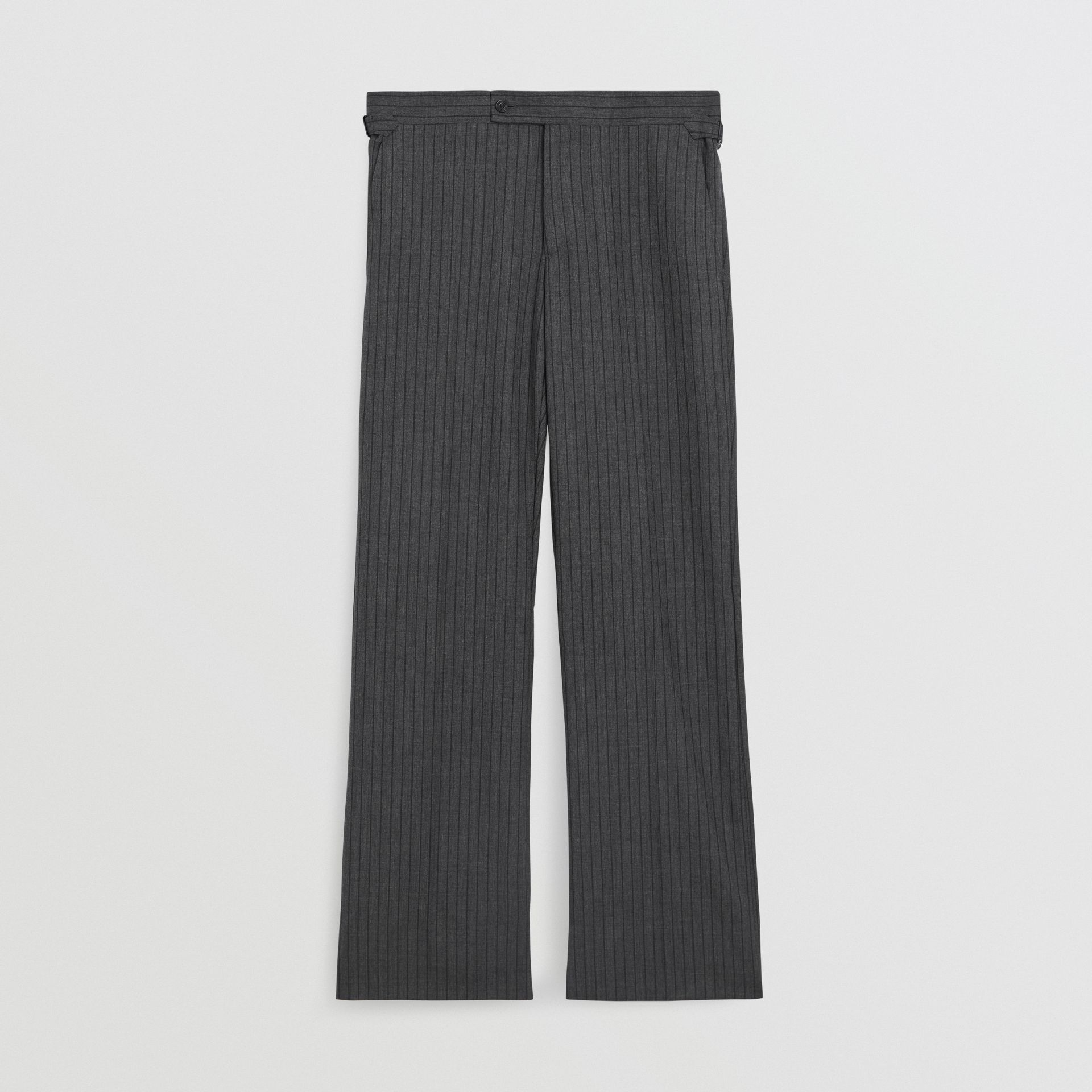 Classic Fit Pinstriped Wool Tailored Trousers in Mid Grey Melange - Men | Burberry - gallery image 3