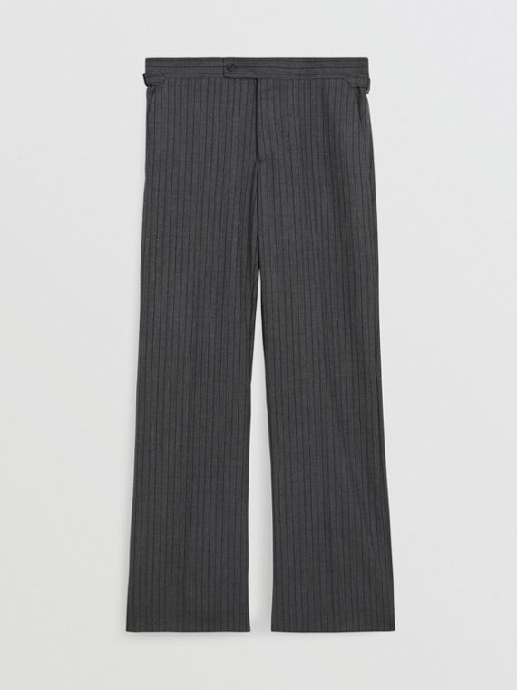 Classic Fit Pinstriped Wool Tailored Trousers in Mid Grey Melange