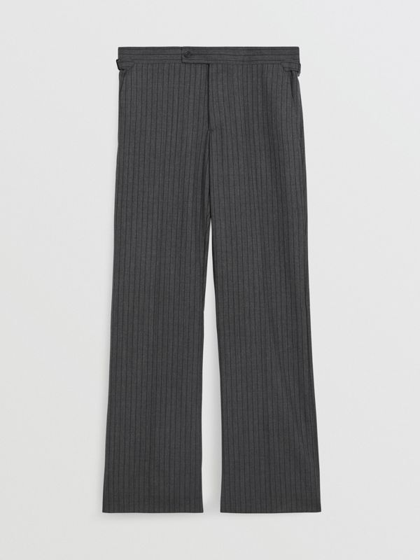 Classic Fit Pinstriped Wool Tailored Trousers in Mid Grey Melange - Men | Burberry United Kingdom - cell image 3