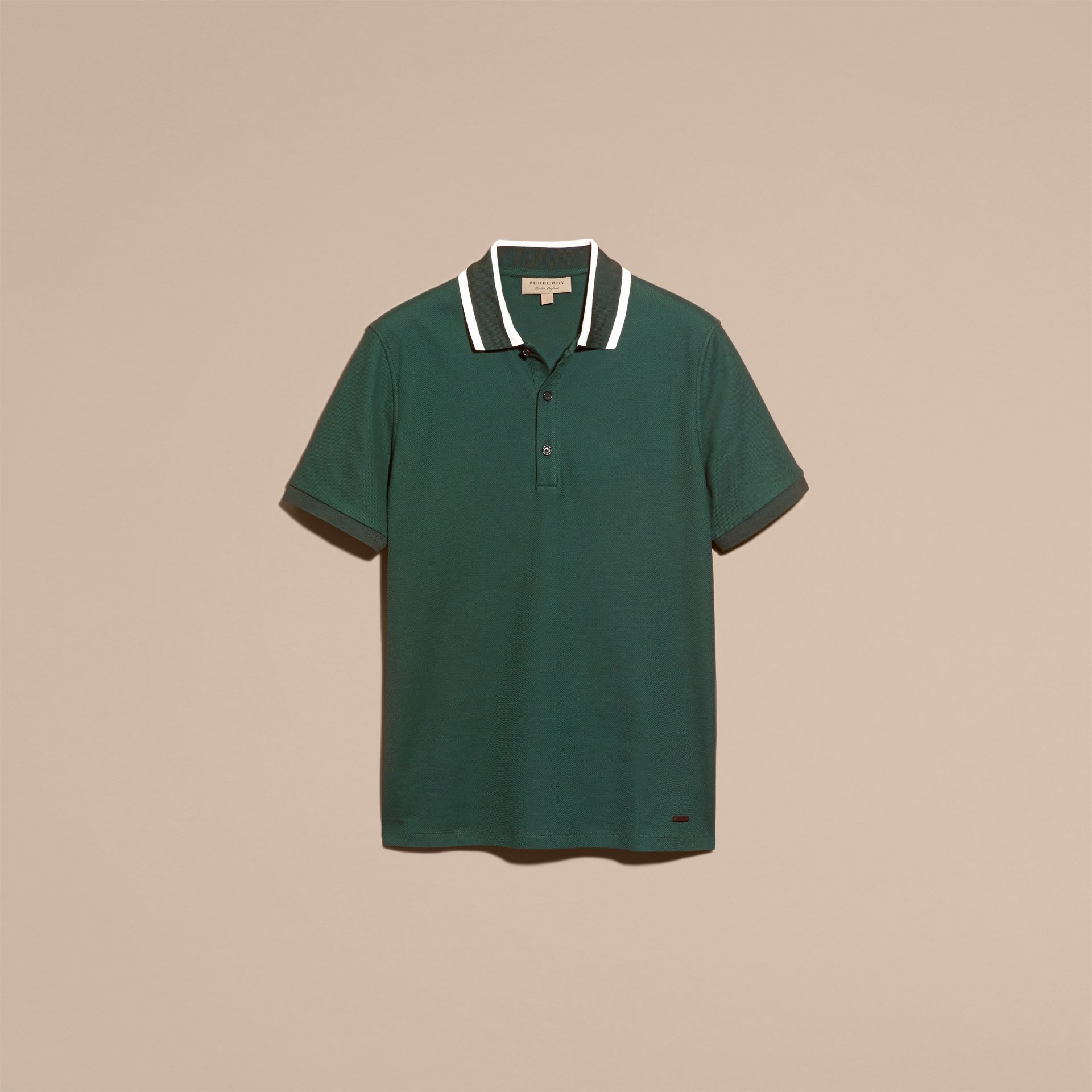Racing green Striped Collar Cotton Piqué Polo Shirt Racing Green - gallery image 4