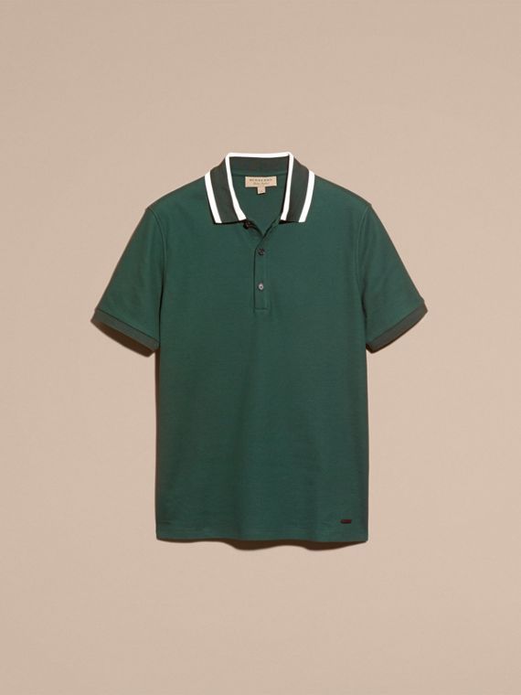 Racing green Striped Collar Cotton Piqué Polo Shirt Racing Green - cell image 3