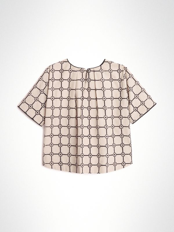 Piping Detail Flower Print Cotton Top in Stone | Burberry - cell image 3