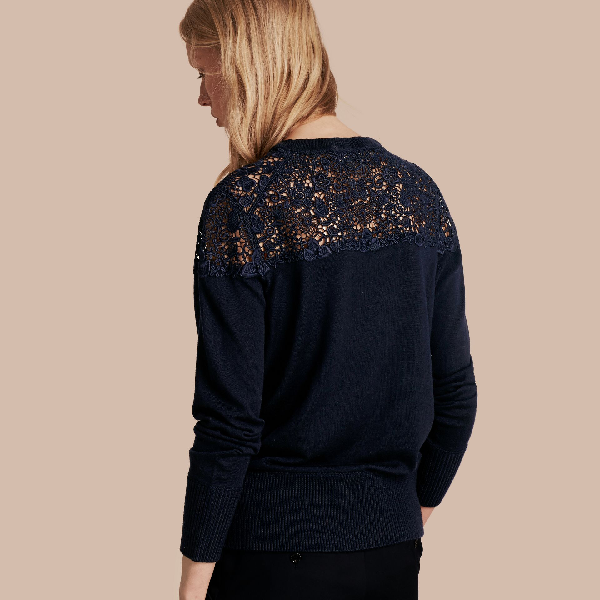 Navy Lace Yoke Merino Wool Sweater Navy - gallery image 3