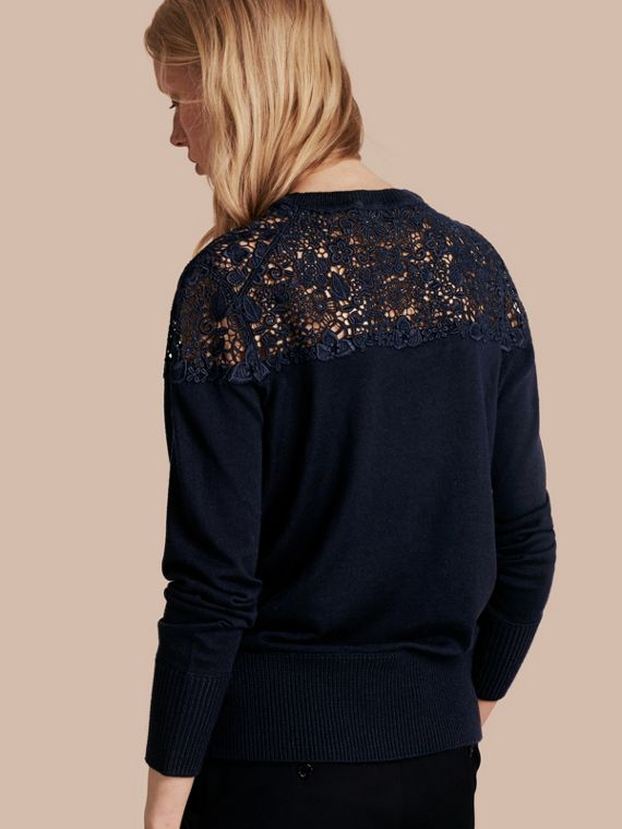 Navy Lace Yoke Merino Wool Sweater Navy - cell image 2