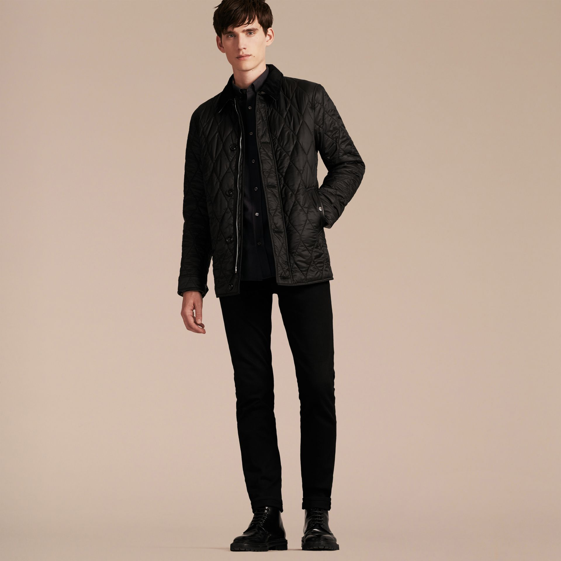 Black Check Detail Quilted Jacket with Corduroy Collar - gallery image 7