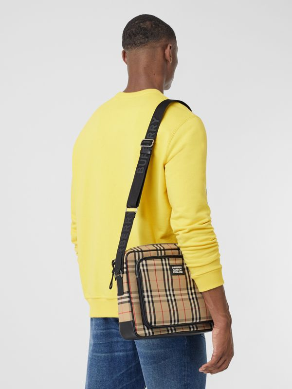 Vintage Check Cotton Messenger Bag in Archive Beige - Men | Burberry Hong Kong S.A.R - cell image 2