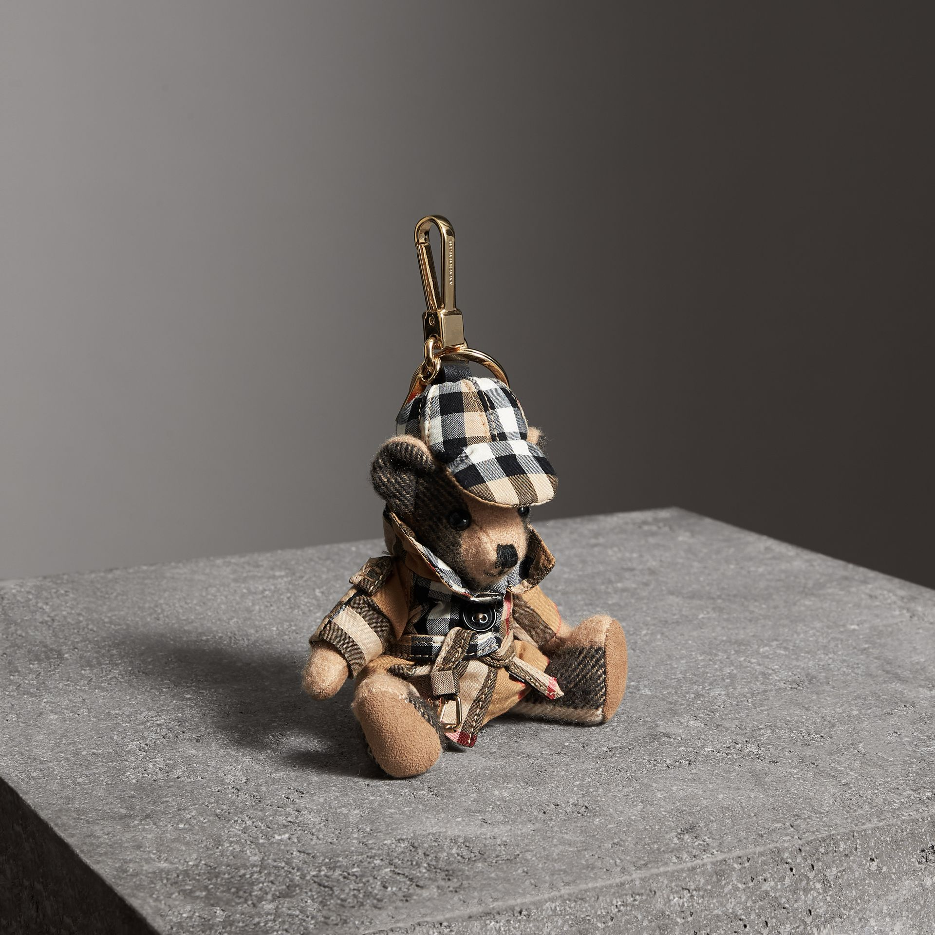 Thomas Bear Charm in Vintage Check Trench Coat in Camel | Burberry Hong Kong - gallery image 0