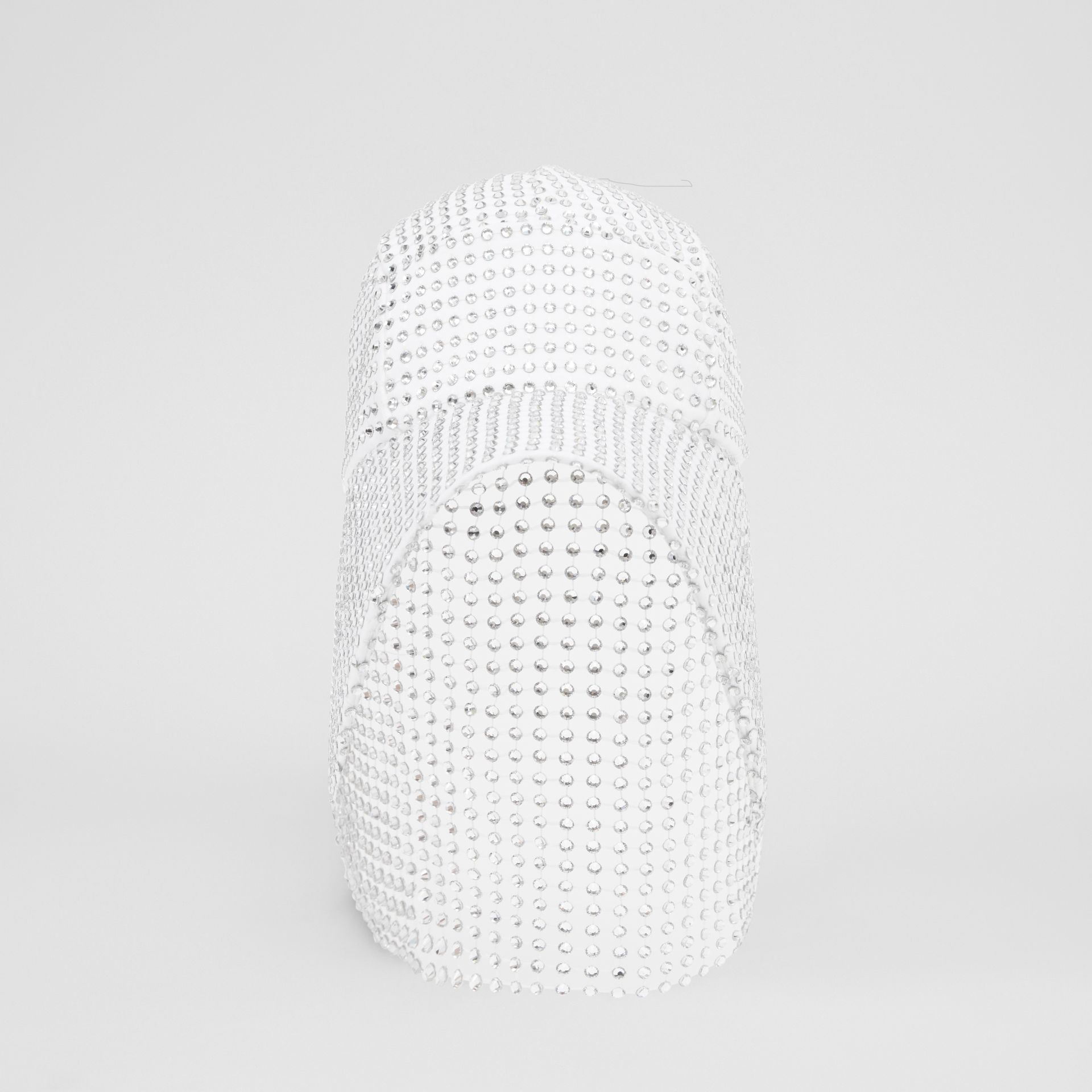 Crystal Mesh Detail Cotton Bonnet Cap in Optic White | Burberry - gallery image 4
