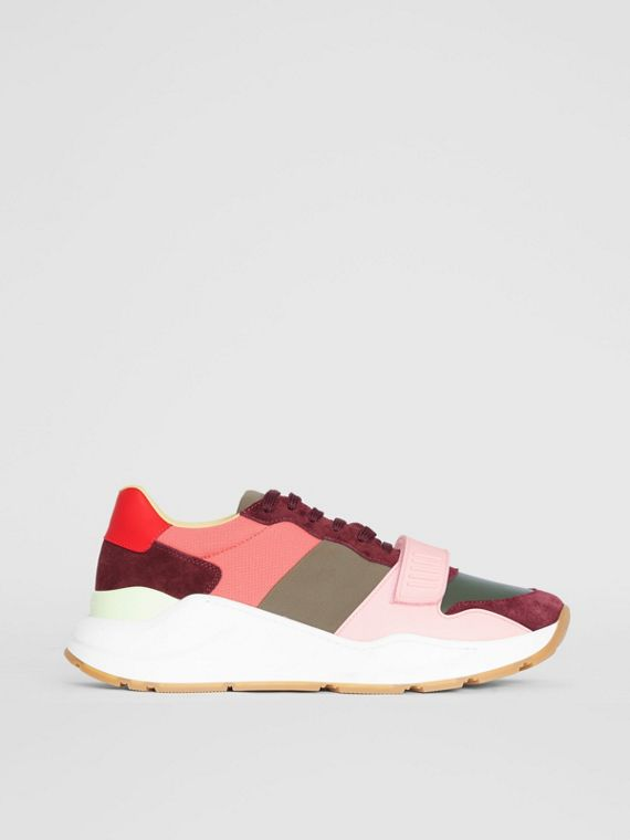 Colour Block Suede and Neoprene Sneakers in Bordeaux/khaki