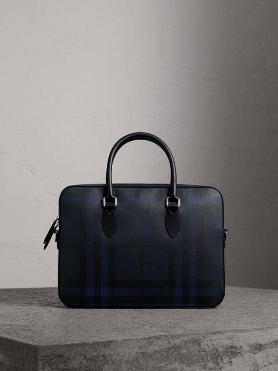 Borsa portadocumenti media con motivo London check e finiture in pelle (Navy/nero)