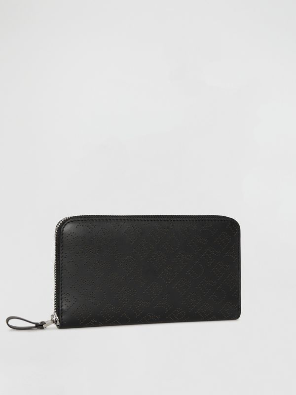 Perforated Leather Ziparound Wallet in Black - Women | Burberry Australia - cell image 3