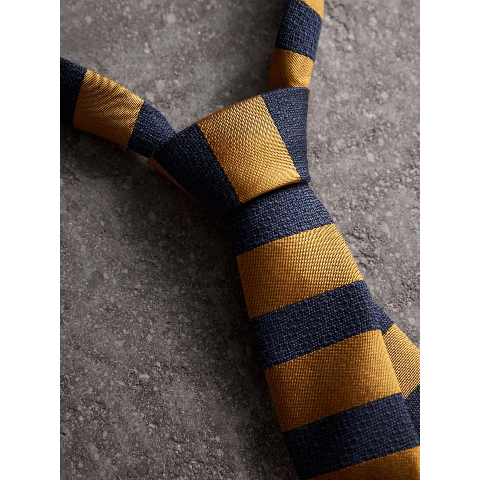 Slim Cut Striped Silk Wool Tie in Amber Yellow - Men | Burberry United Kingdom - gallery image 2