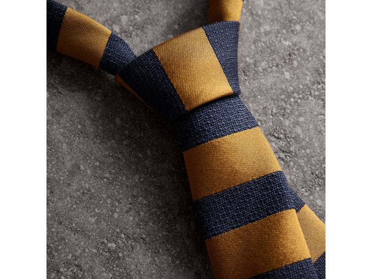 Slim Cut Striped Silk Wool Tie in Amber Yellow - Men | Burberry United Kingdom - cell image 1
