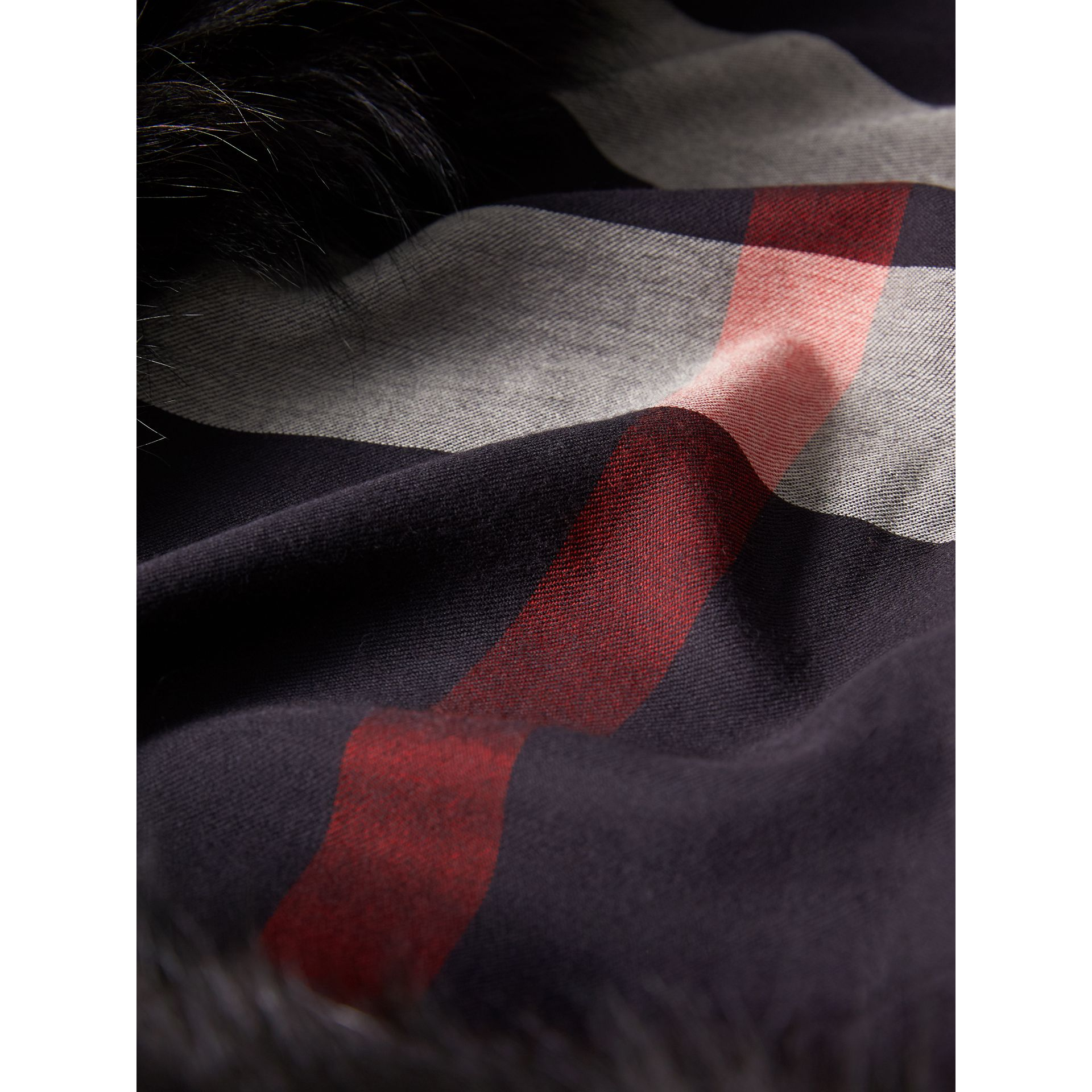 Raccoon Trim Check Wool Cashmere Scarf in Navy - Women | Burberry - gallery image 2